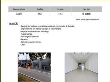 Centro  Excelente loja localizada em uma das avenidas mais movimentadas de Sorocaba.